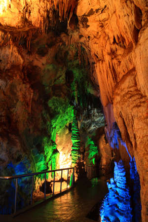 limestone caves: Stone with beautiful colors in the cave Stock Photo