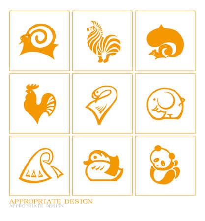 Orange animal prints, templates theme, abstract logo Stock Vector - 12302113