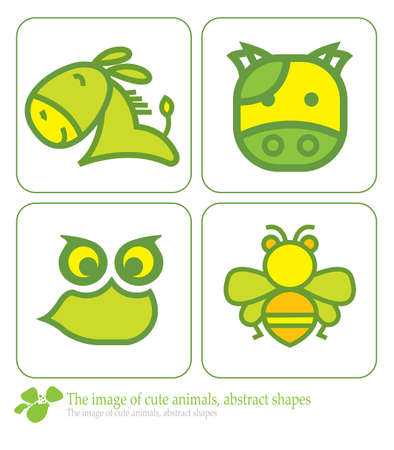 the image of cute animals, abstract shapes Vector