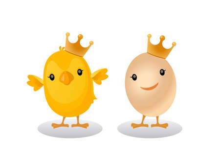 Chickens wear crown and eggs wear crown.