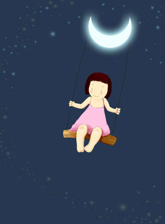 Child play on a swing under the moonlight of the orchid color.
