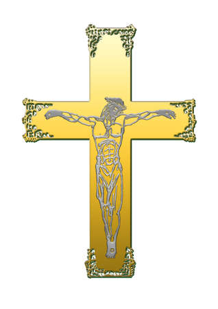 The cross of metals, on the background of white Stock Photo