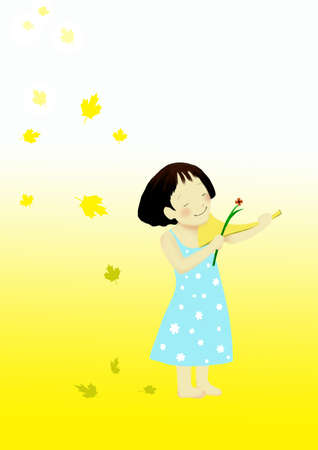 Lovely girl, under the yellow background. Stock Photo - 5300029