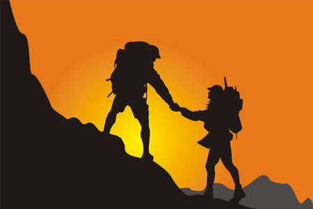 Mountain climbing canvasser, climb the very high summit of hill in top,