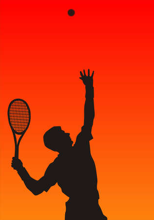 perseverance: tennis player in the red background, the fierce competition.