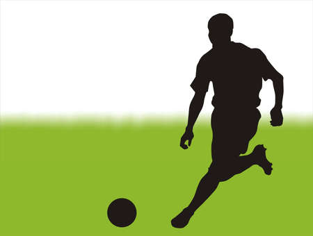 dint: football players, running the green playing field. Illustration