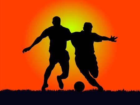 vehemence: football athlete, in the sun resist of vehemence. Illustration