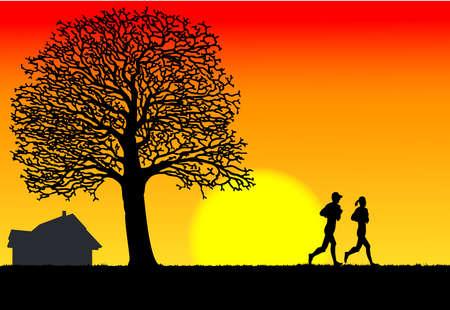 morning running, toughen body, at morning of, under the sunlight. Stock Vector - 9698951