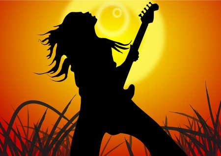 정오: Young man of sing a song, under the sunlight of the noon.