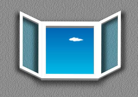 window open: Ventana, abrir una ventana, s�mbolo de, el cielo de color orqu�dea, nube de blanco, flotado lentamente una vez, Vectores