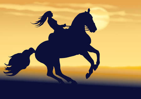 ride the young girl of horse, at the evening, the scenery of beauty.