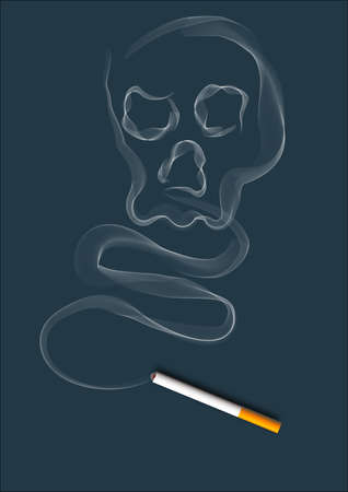 cigarette smoke in a dark blue background, slowly flowing. Stock Photo - 9817839