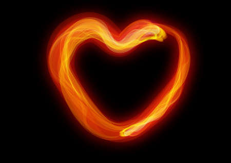 red burning heart, the dark background.