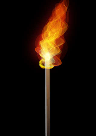 torch, in the dark, burning, a symbol of light.
