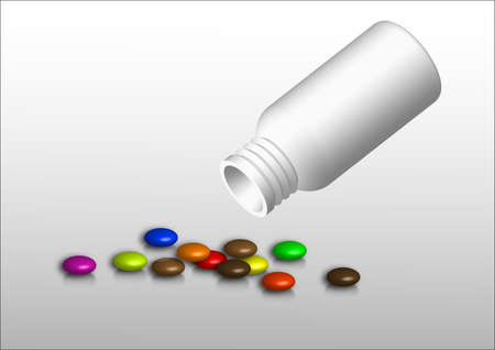 bottle, white, numerous colored tablets in the context of light Illustration