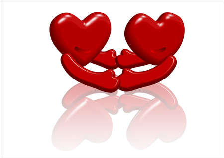 love, two hearts in love hand in hand, tightly linked and interdependent Stock Photo