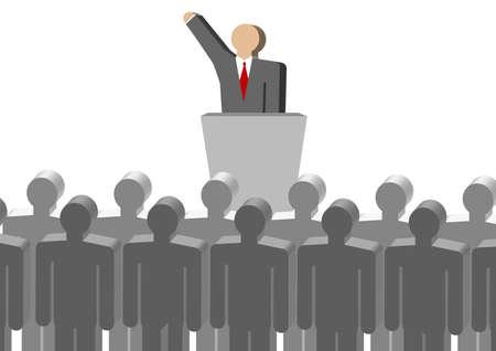 publicity: liderazgo de reuniones, un mont�n de gente recogiendo, un hombre en el podio, hablar, hablar, publicidad.
