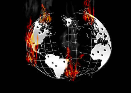 Burning earth, the outbreak of war, the destruction of mankind, longing for peace. Stock Photo