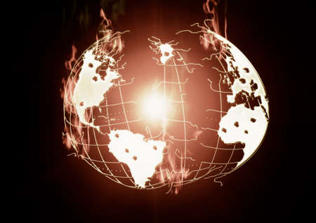outbreak: Burning earth, the outbreak of war, the earth in a disastrous state, in the center of the fire burning