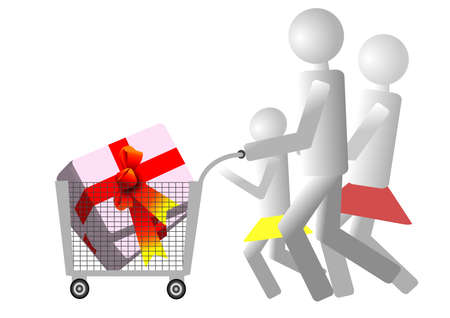 Weekend family shopping, return fully loaded Stock Vector - 16193098