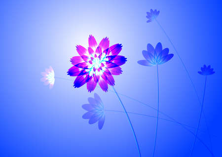Blue flower, on white background, computer generated  Illustration
