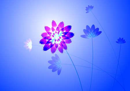 obscure: Flor azul, sobre fondo blanco, generado por ordenador Vectores