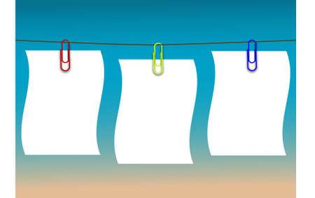 Paper labels, string together, blue background