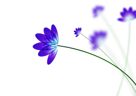 Blue flower, on white background, computer generated  向量圖像
