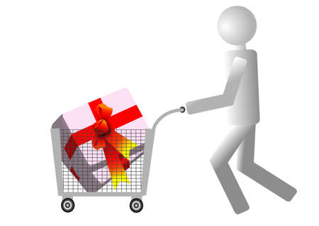Happy holiday shopping, the supermarket cart buyer Stock Vector - 16193099