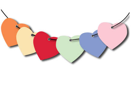Heart tag, on white background, with connecting lines