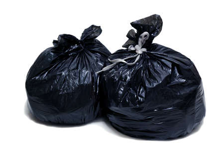 Two garbage bags, tied up with ropes, isolated, on white background Stock Photo - 17201432
