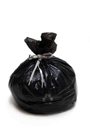 roped: Bolsa de basura, aislado, cordada, sobre fondo blanco Foto de archivo