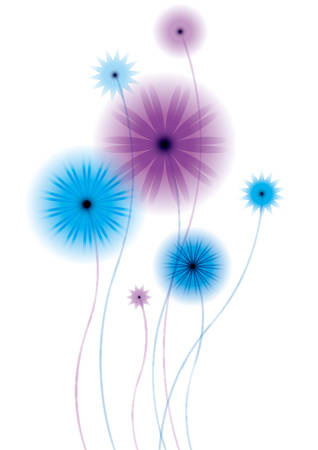 excess: Beautiful flowers, on a white background, with computer generated