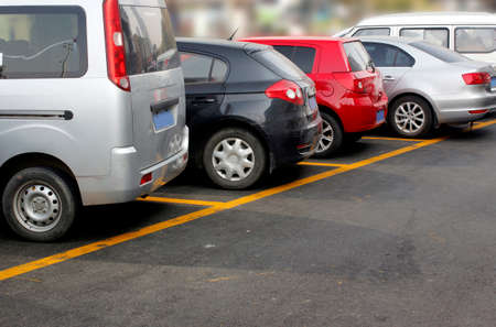 labeled: The safety line, car park Stock Photo