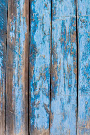 decadent: Blue gray color mottled paint efflorescent chap decadent wooden close-up Stock Photo