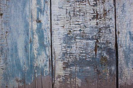 mottled: Blue gray color mottled paint weathering cracked wooden close-up