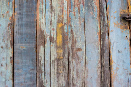 chap: Blue gray color mottled paint efflorescent chap decadent wooden close-up Stock Photo