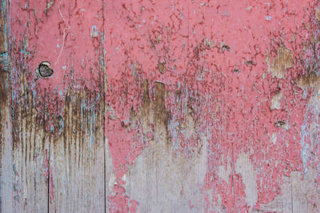 weathering: Red and grey color mottled paint weathering cracked wooden close-up