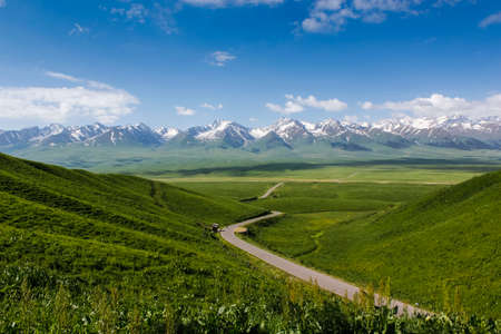 The beautiful green mountains Nalati prairie scenery Stock Photo