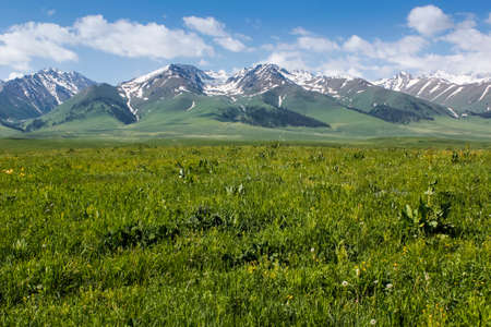 cloud capped: The beautiful green mountains Nalati prairie scenery Stock Photo