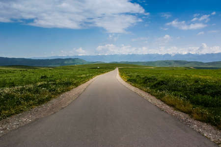 Green beautiful prairie highway.