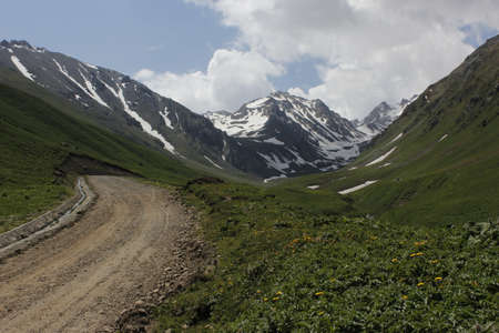 cloud capped: Nalati prairie on the mountain Stock Photo