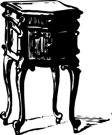 Black and white illustration old dresser bureau