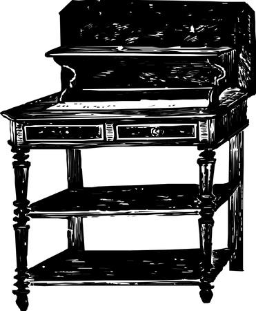 Antique wooden bureau  Illustration