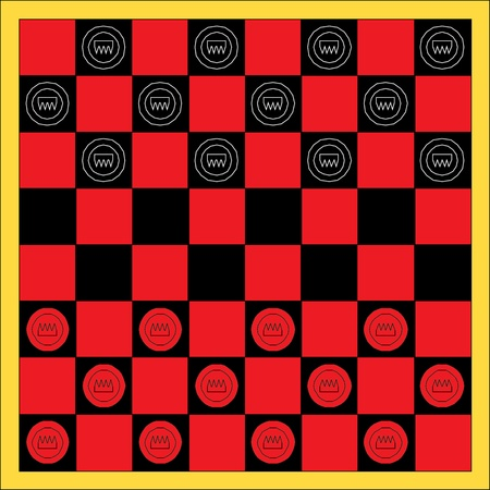 draughts: Vector checker or draughts board game Illustration