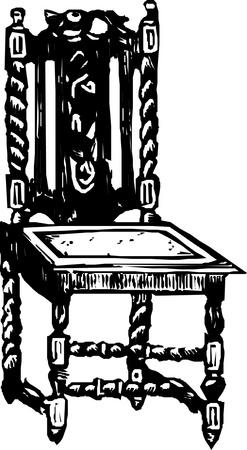 antique chair: baroque antique chair  Illustration