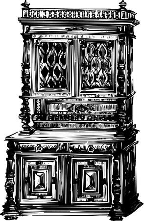 Antique Cabinet cupboard Vector