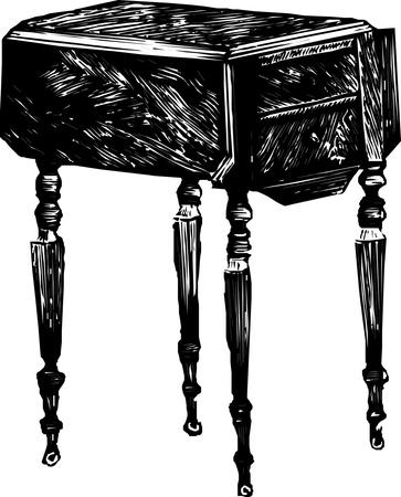 vestibule: Black and white illustration old dresser bureau