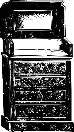 seventeenth: Old wooden cabinet  Illustration