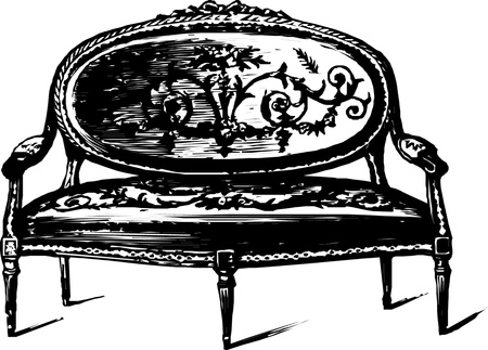 antique furniture: Antique bench Illustration